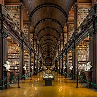 Trinity College Library, Dublin. Courtesy of Diliff, CC BY-SA 4.0 <https://creativecommons.org/licenses/by-sa/4.0>, via Wikimedia Commons